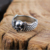 925 Sterling Silver Double Wings Ghost Head Ring Silver Skull Ring