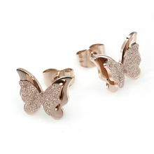 Wholesale Fashion Exquisite High Polish Matte 18k Rose Gold Plated Stainless Steel Butterfly <strong>Earrings</strong> for Girls