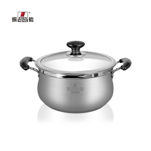 22 CM SUS304 stainless steel soup milk pot single bottom stock pot with and glass Lid Riveted and double bakelite handle