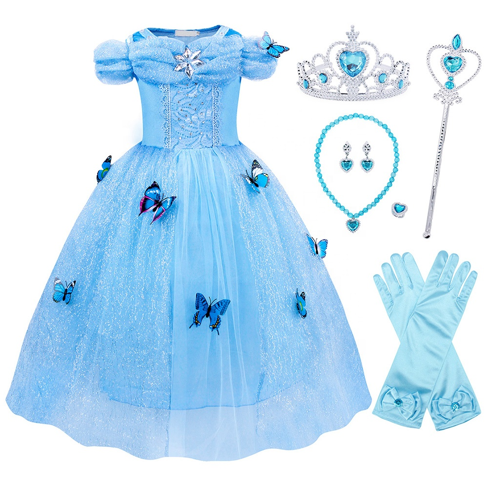 Hot Sell Sofia/Aurora/Snow White/Elsa/Rapunzel Costume Girls Halloween Fancy Party Cosplay Costume Cinderella Dress
