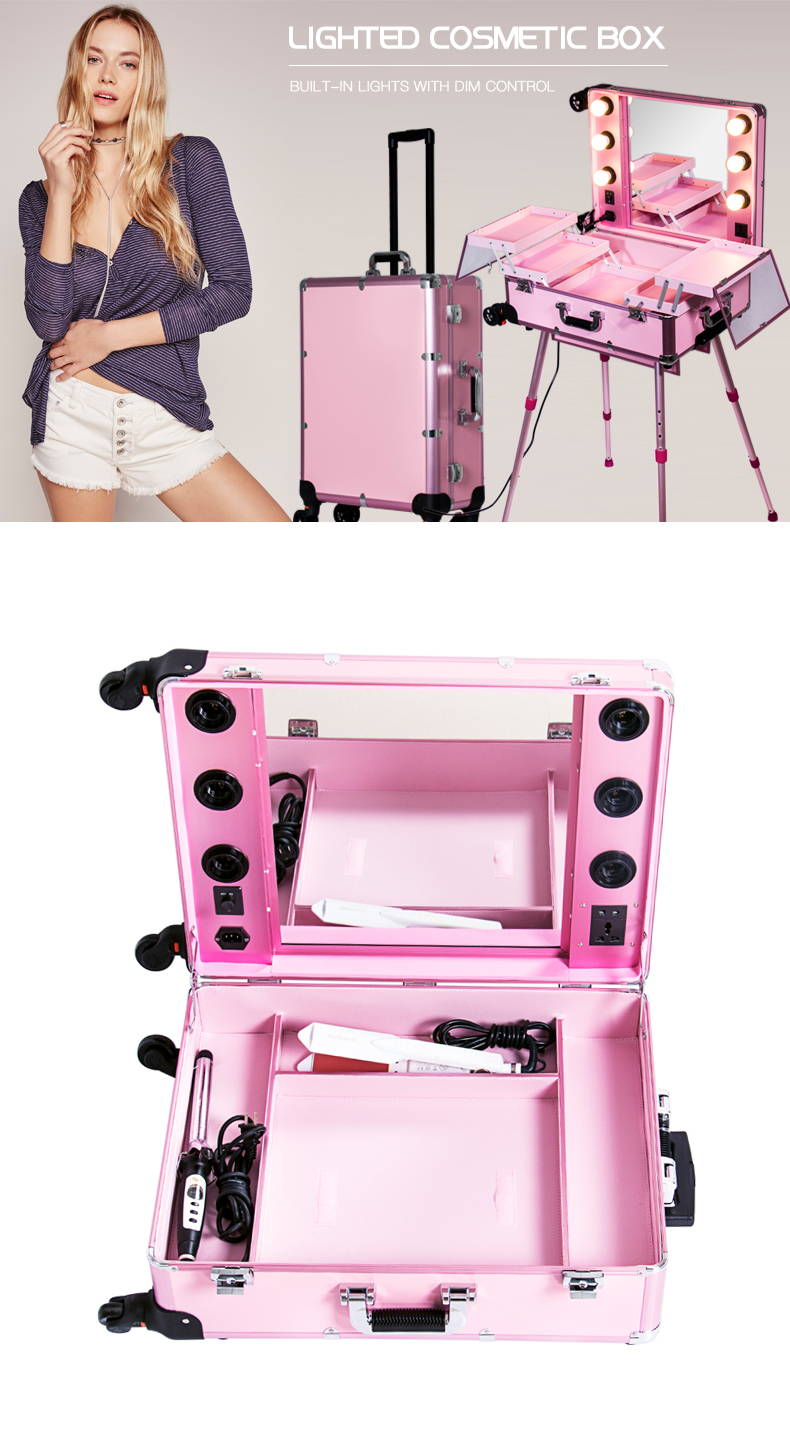 Latest fashion good quality makeup train case makeup station with lights with mirror