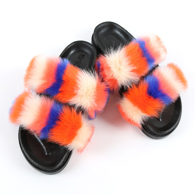 Fox Fur <strong>Slippers</strong> for lady china factory wholesale 2020 Soft Furry Sandals Faux Double Strap Fur Slides