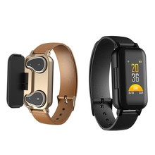 T89 TWS <strong>Smart</strong> Binaural Bluetooth Headphone Fitness Bracelet Heart Rate Monitor <strong>Smart</strong> Wristband Sport <strong>Watch</strong> Men Women