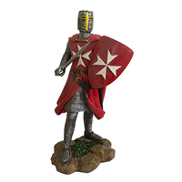 European Style Resin Roman Soldier Figurines Medieval Soldiers Sculpture Armor Knight Statues with Spear and Sword Red Cross