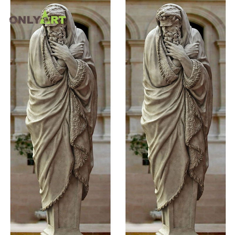 Life Size Marble Church Decoration Standing Saint Religious Sculpture With Cross