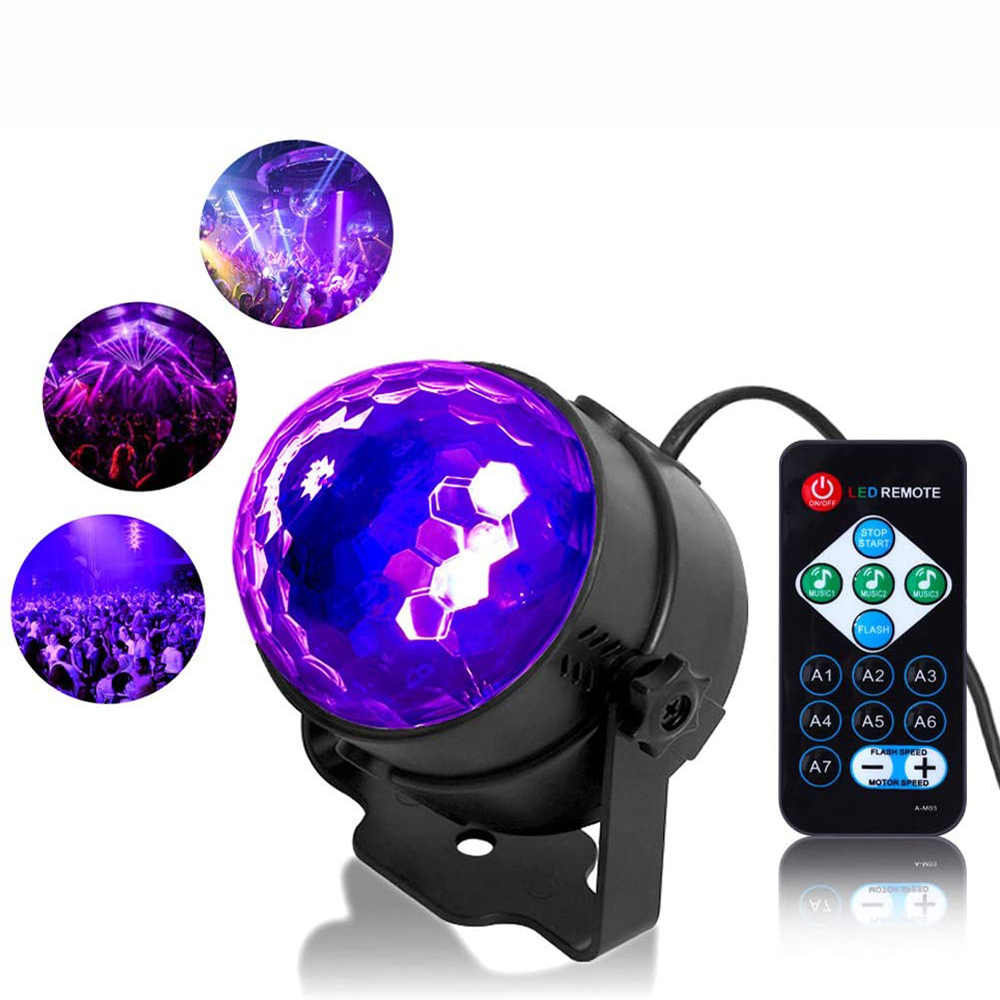 UV Party Ball Light 6W LED Disco Black Lights Disco Lights, Sound Activated with Remote Control Dj Lights Stage