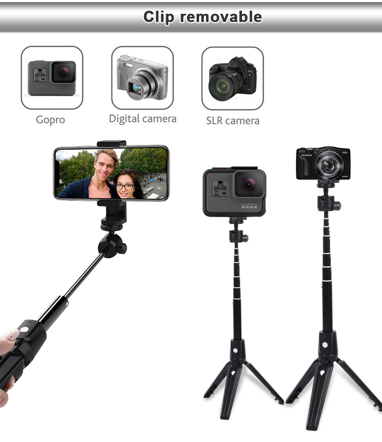 Tripod with foldable mobile phone selfie stick Self-timer with remote control