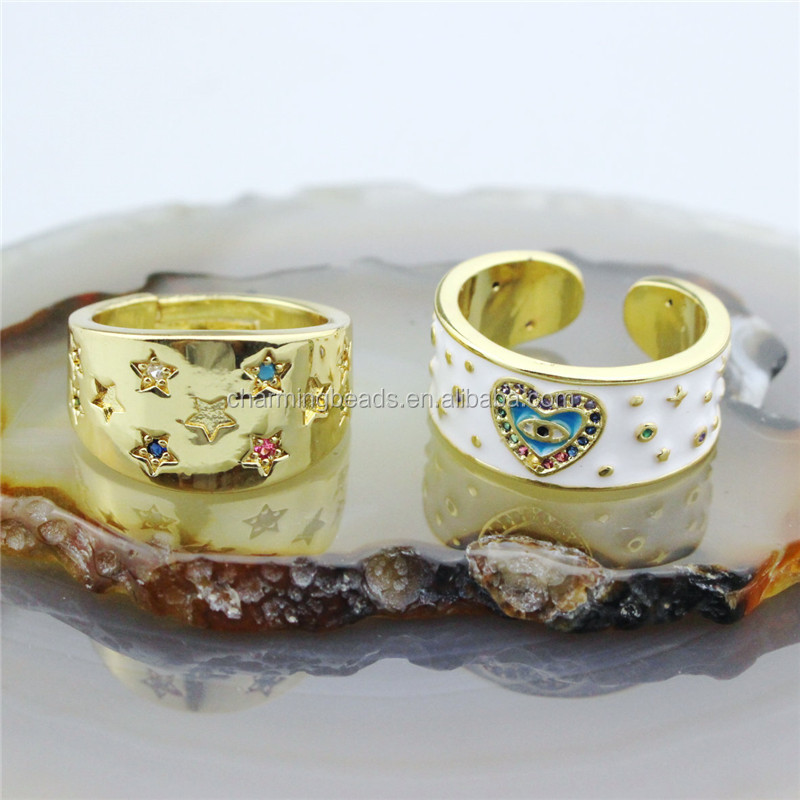 CH-HDR0020  star and heart  stylish and exquisite cz charm ring, adjustable  ring, cz charm jewelry cheap wholesale
