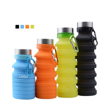 600ML Customized Silicone Travel Camping Outdoor Collapsible Reusable <strong>Sports</strong> Plastic Drinking Water Bottle