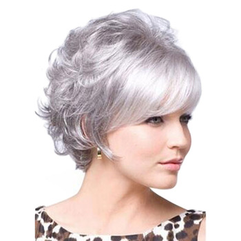 Gray wigs for older women Ainizi 12'' short body wave synthetic rose net wig for all ethnicities