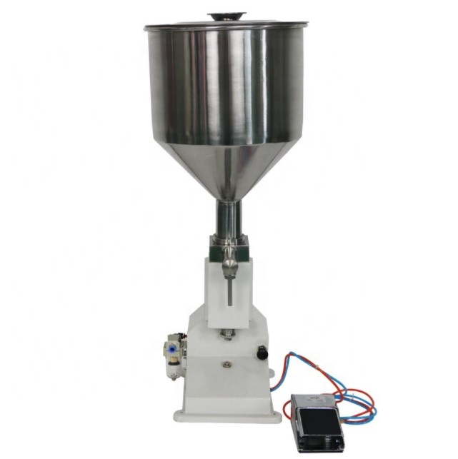 5-50ml Pneumatic stainless steel liquid, paste, cream filling machine <strong>A02</strong> for small bottle, vial, syringe