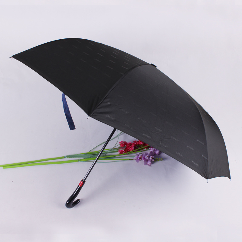 Handsfree double layer digital printing backwards  J handle reverse umbrella  straight manual umbrella