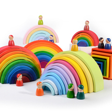 HZ ONE Tunnel Creative Rainbow Building Blocks Puzzle Geometry Baby Montessori Wooden Toys