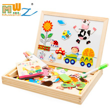 Wooden Kids Educational Toys Magnetic Easel Double Side Dry Erase Board Puzzles <strong>Games</strong> for Boys Girls