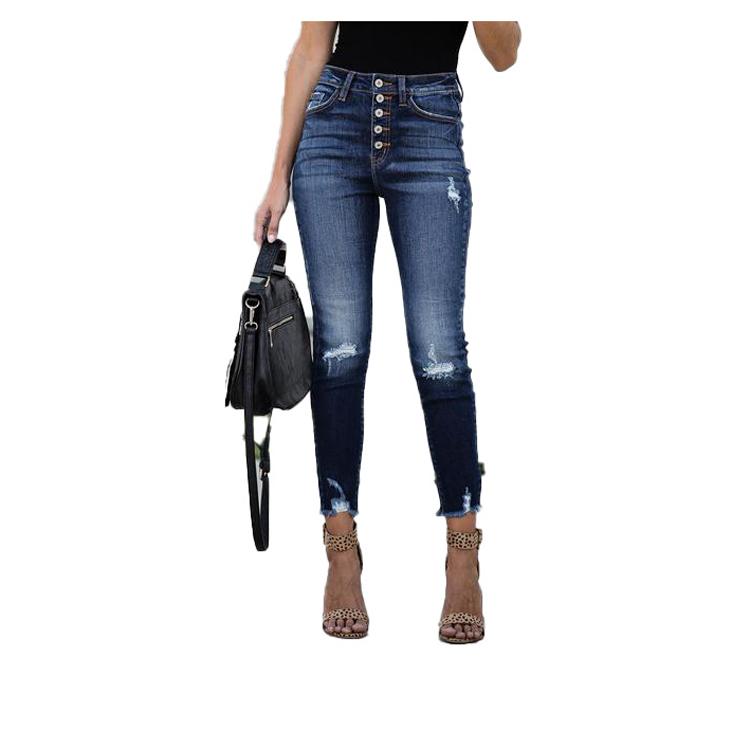 Clothing Factory Wholesale women <strong>jeans</strong> Damaged tight super skinny ripped high waist womens denim stretch pants