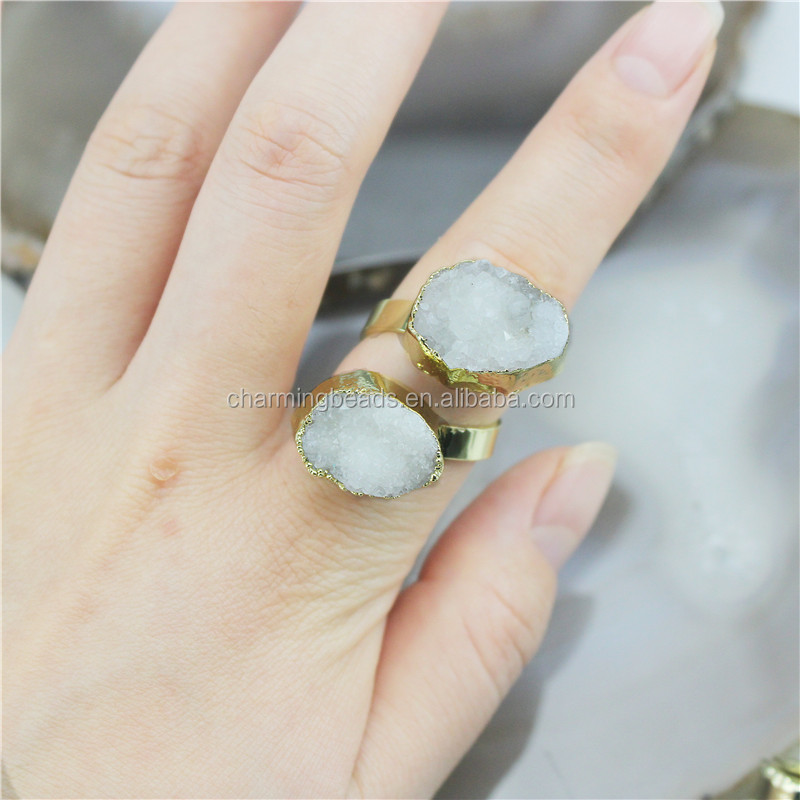 CH-CKR0027 Druzy plating ring,adjustable stone ring,nature drusy jewelry ring cheap wholesale