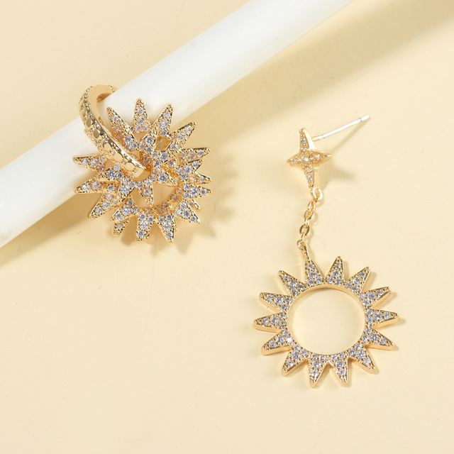 High-end Popular Korean Geometric Circle Earring Jewelry 925 Sterling Silver Hollow Micro Inlaid Zircon Gold Earrings Women Gift