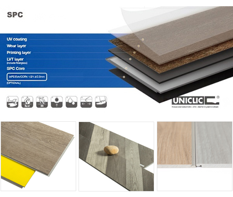 Hot Sale Thickness 4.0mm Wear Layer 0.3mm Vinyl Flooring Planks SPC Flooring Plastic Tile