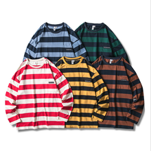 Autumn Korean <strong>Men's</strong> Striped Contrast Hip Hop Large Size O-neck Long Sleeve Pullover T-<strong>shirt</strong>