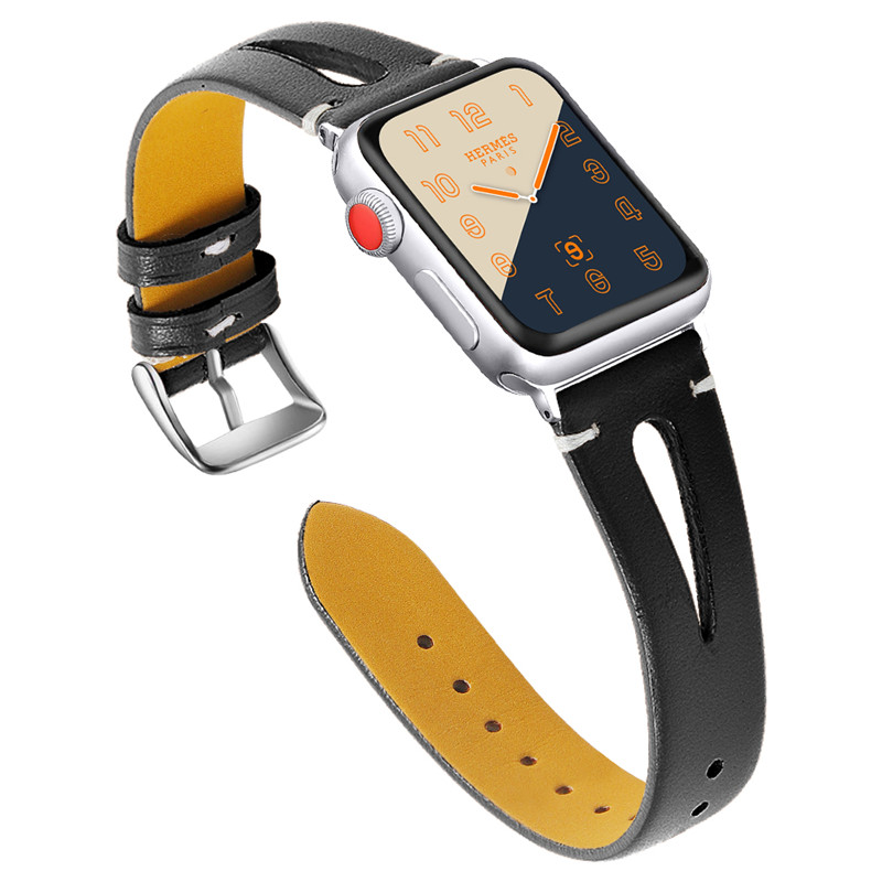 Hollow out watch <strong>belt</strong> for iwatch 4 <strong>3</strong> 2 1 genuine leather strap for apple watch watch band for series 5