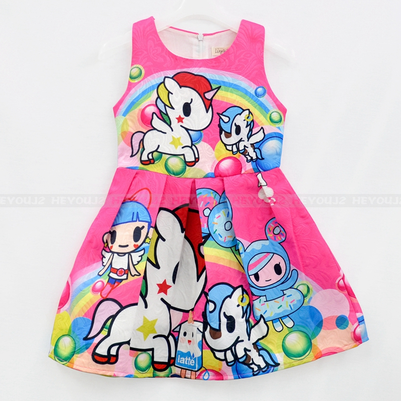 Hot selling China kids dress fancy cartoon sleeveless casual dresses