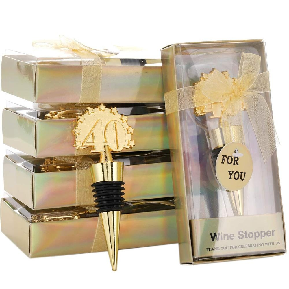 40th Birthday Gifts Gold Wedding Valentine's Day Supplies Zinc Alloy <strong>Wine</strong> and Beverage Bottle Stoppers