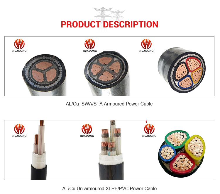 Huadong cable  Low voltage 240 sq mm armored   PVC swa PVC power cable