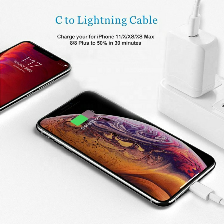 Original Genuine 18w Fast Charging PD Adapter Usb Type <strong>C</strong> to Lightning Cable for Iphone