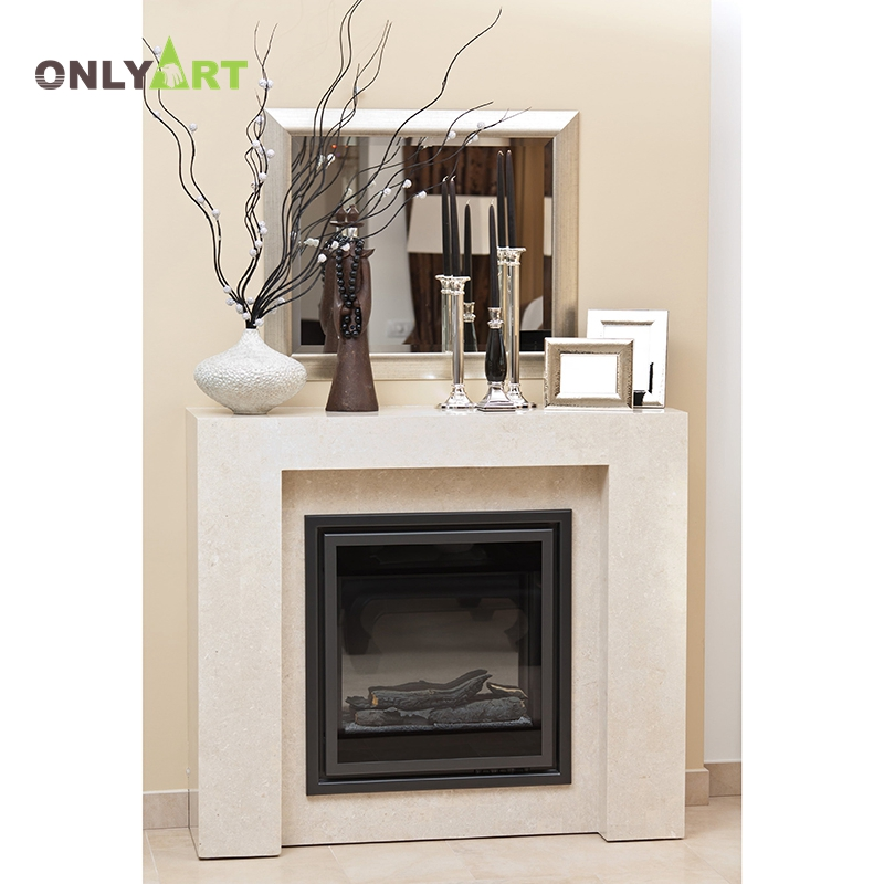 simple carve designs natural stone two layer  fireplace