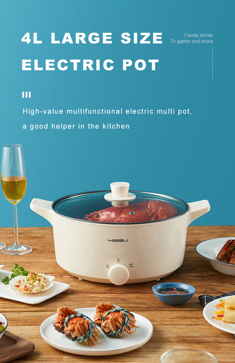 4 Liter 220V 1200W Malaysias Pop Sale Electric Chinese Hot Pot Stainless Steel Large Cooking Pot For Sales