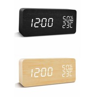 New LED creative desk & table digital wooden alarm clock with temperature display