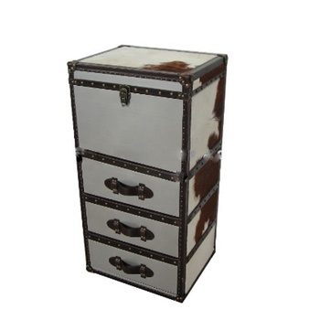 Antique Decorative Cow Fur Stainless Steel High Chest Storage Trunk