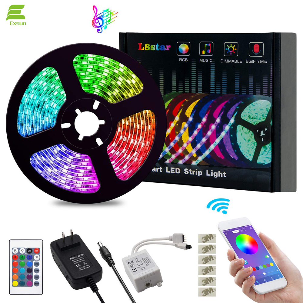 12V Flexible SMD 5050 <strong>RGB</strong> with Bluetooth Controller Sync Light Strips 5m led strip light