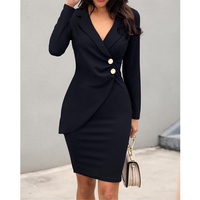 2019 Wholesale Women Plain Solid Long Sleeve Wrapped Office Dress