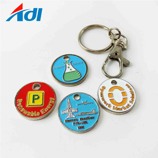 Custom logo round metal shopping trolley coin holder keyring