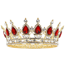 NeeFu WoFu Glorious Simulated Red Ruby Crystal Pageant Full Circle <strong>Crowns</strong> Bridal Gold Tiaras Multicolor rhinestone <strong>Crown</strong>