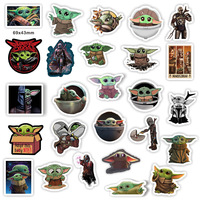 50 Pcs/Lot ST0035 Free Shipping Star Baby Yoda Vinyl Waterproof Stickers Wars Vinyl Removable Sticker For Guitar Car Luggage