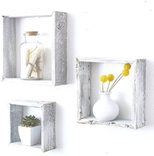 Rustic white solid wood home square living room bedroom <strong>bathroom</strong> mounted hanging shadowbox design storage wooden <strong>wall</strong> <strong>decor</strong>