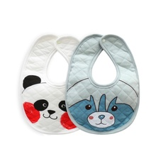 MYMC High Quality 100% Organic Cotton Drooling and Teething Bib Soft Absorbent Cartoon Printing Solid Color Baby Bandana Bibs