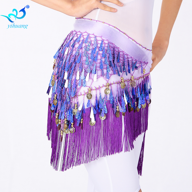 Belly Dance Belt Belly Dancing Hip Scarf Sequins Tassel Waist Belt 8 Colors