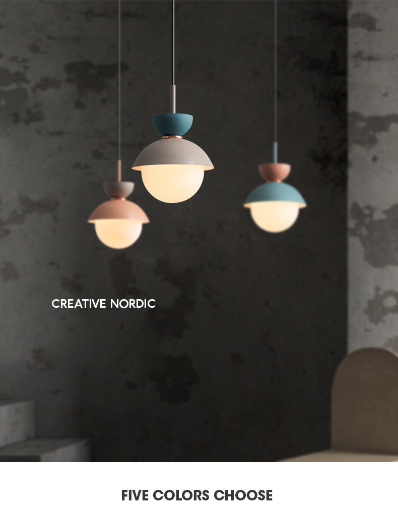 Nordic modern style macaron single head lighting can freely combine color pendant lights