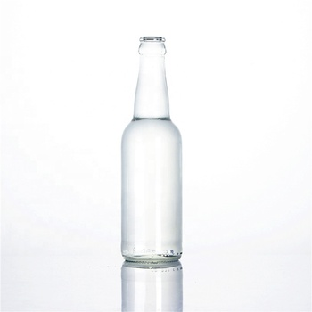 Stocked 330ml clear transparent empty carbonated beverage soft drinking cocktail liquor breezer beer glass bottle with lid