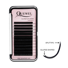 Quewel Lash <strong>Flat</strong> Eyelash Extension, Wholesale Individual Eyelash Extension, Private Label OEM <strong>Flat</strong> Ellipse Eyelash Extensions