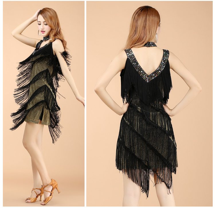 New Women cheap tassel Dance Dress American Ballroom Latin Evening Dress