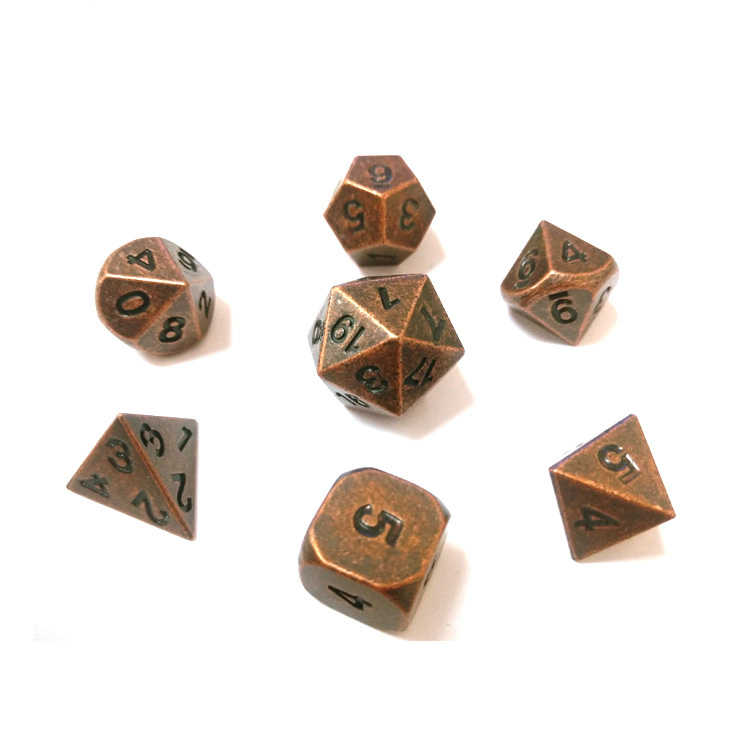 Wholesale stocks antique brass antique copper antique nickel metal polyhedral dice set