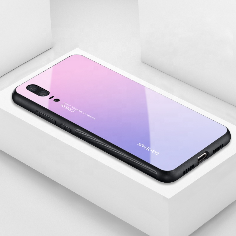 Free Sample 6 Colors Available Custom Shockproof Tempered Glass Gradient Color Phone Case for Huawei/Samsung Galaxy <strong>A10</strong>