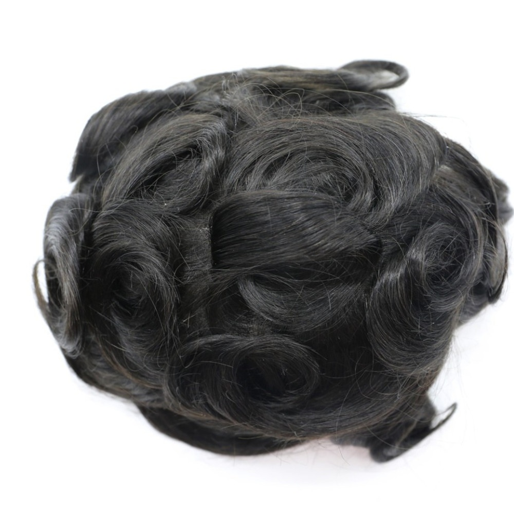 USA fashonal style Men's Toupee for Black Men African American 8x10inch All PU Base Wig 10mm Curly invisible toupee <strong>100</strong>% Human <strong>H</strong>