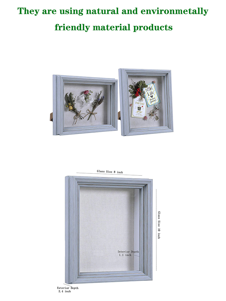 Shadow Box Frame Sized 8x10 Inch with Linen Board for Display and Protect Memorabilia (Photos, Medals, Pins, Cards), Pre-Install