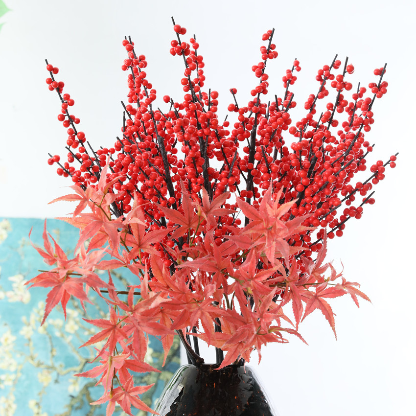 Simulation plant simulation Holly fruit Christmas fruit red berries wholesale Chinese porcelain vases home decorative flowers