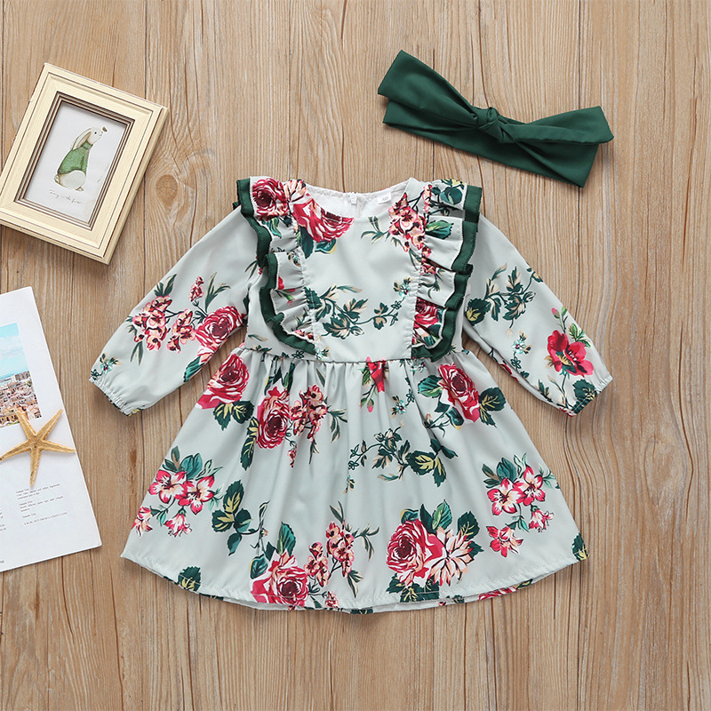 Spring autumn cotton baby girls clothes european fashion animal appliques kids girl princess dress